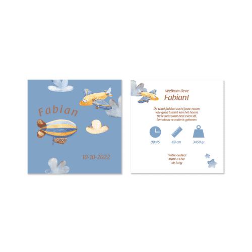 Stoer geboortekaartje vliegtuig en zeppelin voor en achter