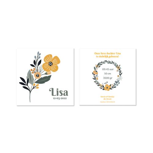 Klassiek geboortekaartje met bloem voor en achter