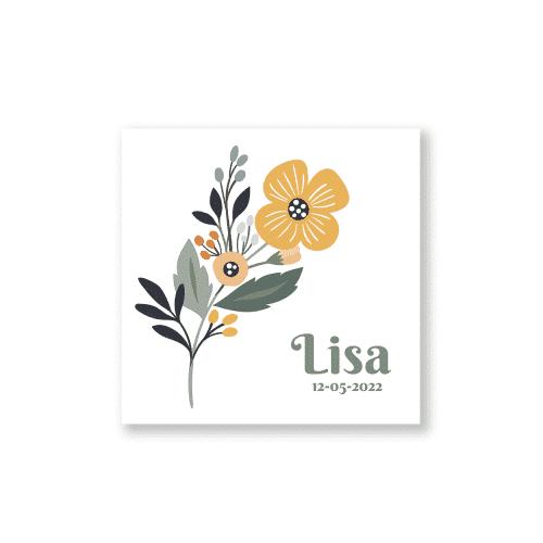 Klassiek geboortekaartje met bloem voorzijde