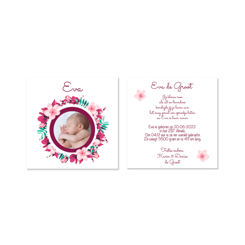 geboortekaartje meisje met kleurrijke bloemenkrans en eigen foto voor en achter