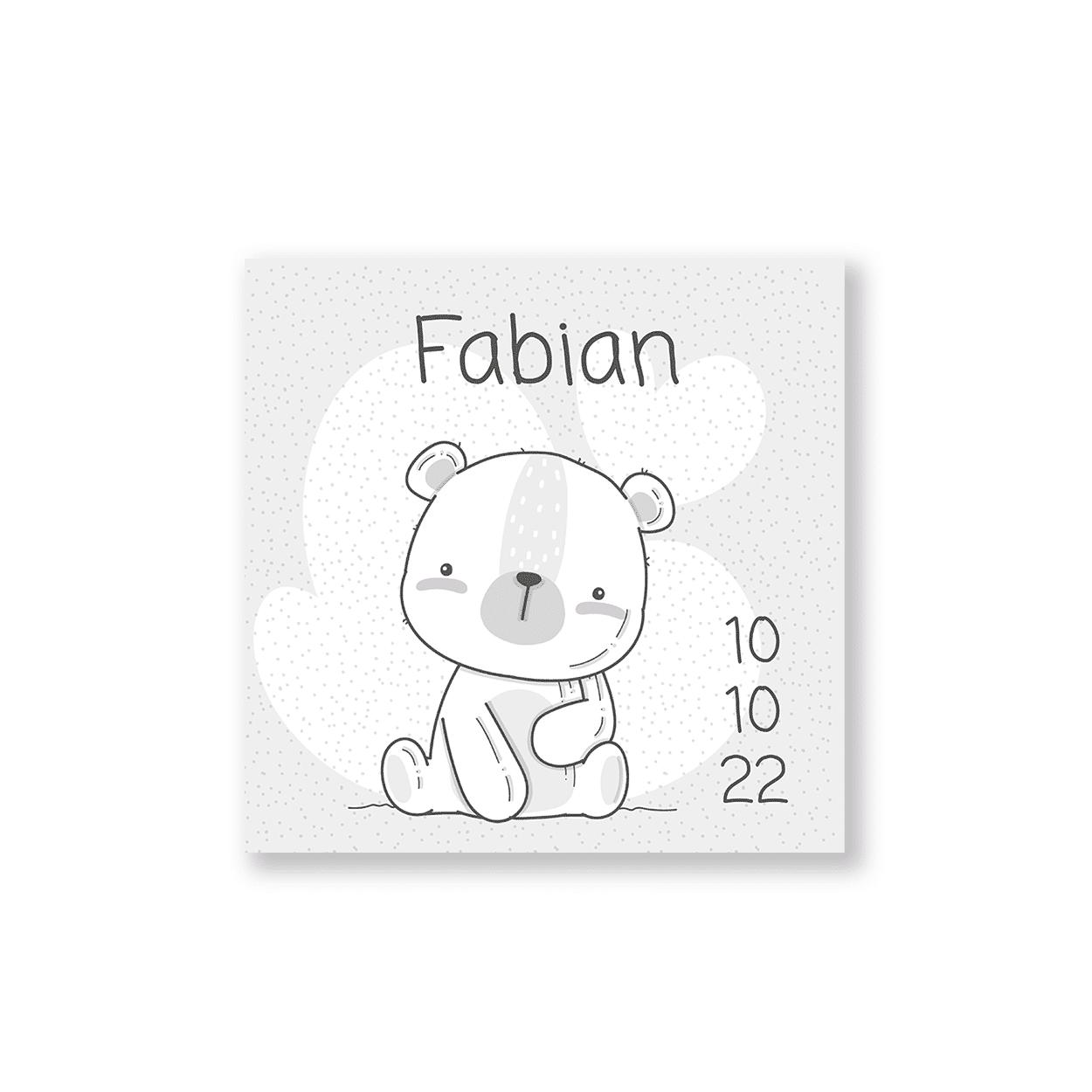 Geboortekaartje jongen met teddy beertje voorzijde