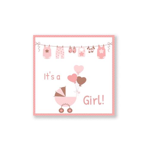 geboortekaartje meisje met kinderwagen en ballonnen voorzijde