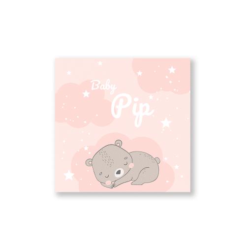 geboortekaartje voor een meisje met schattig slapend beertje voorzijde