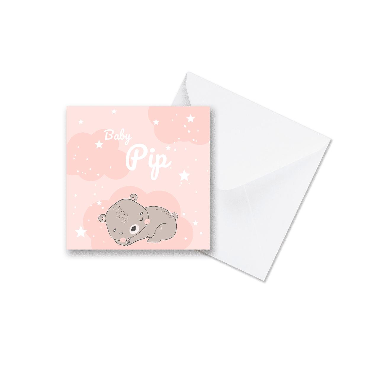 geboortekaartje voor een meisje met schattig slapend beertje met envelop