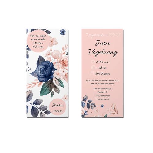 Geboortekaartje prachtige bloemen voor en achter