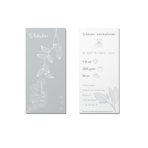 Minimalistisch bloemenkaartje voor en achter