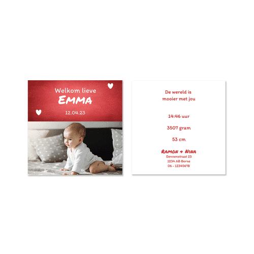 Rood geboortekaartje meisje met foto voor en achter