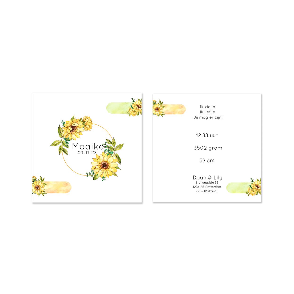 Geboortekaartje gele bloemen voor en achter