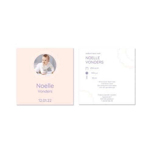 Geboortekaartje meisje ronde versiering voor en achter
