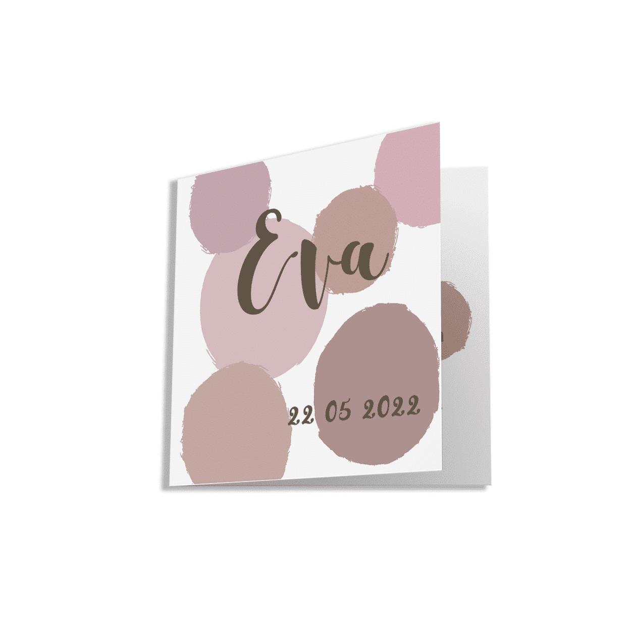 Hip geboortekaartje voor een meisje met verf stippen in verschillende roze tinten.