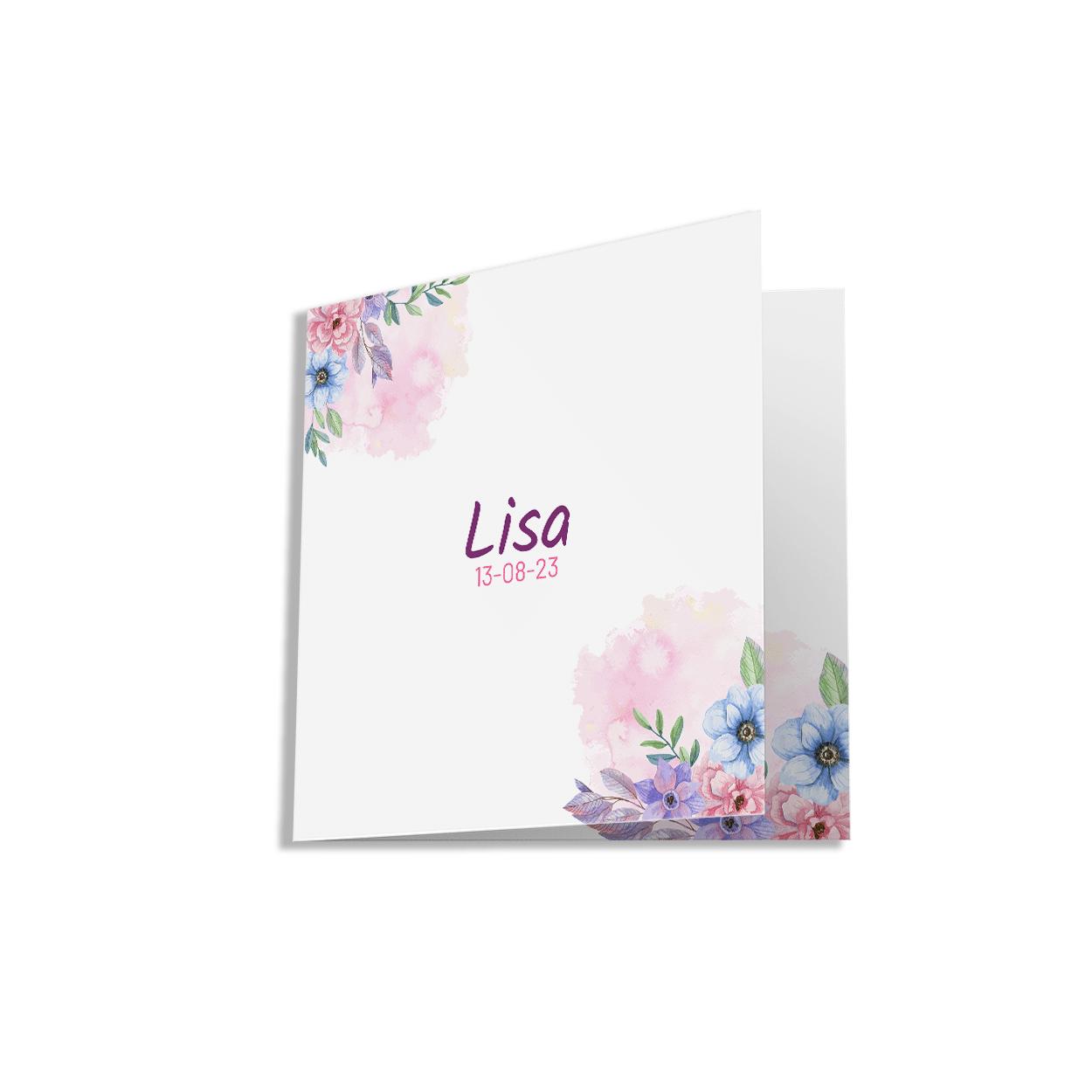 Klassiek geboortekaartje kleurrijke rozen voorzijde