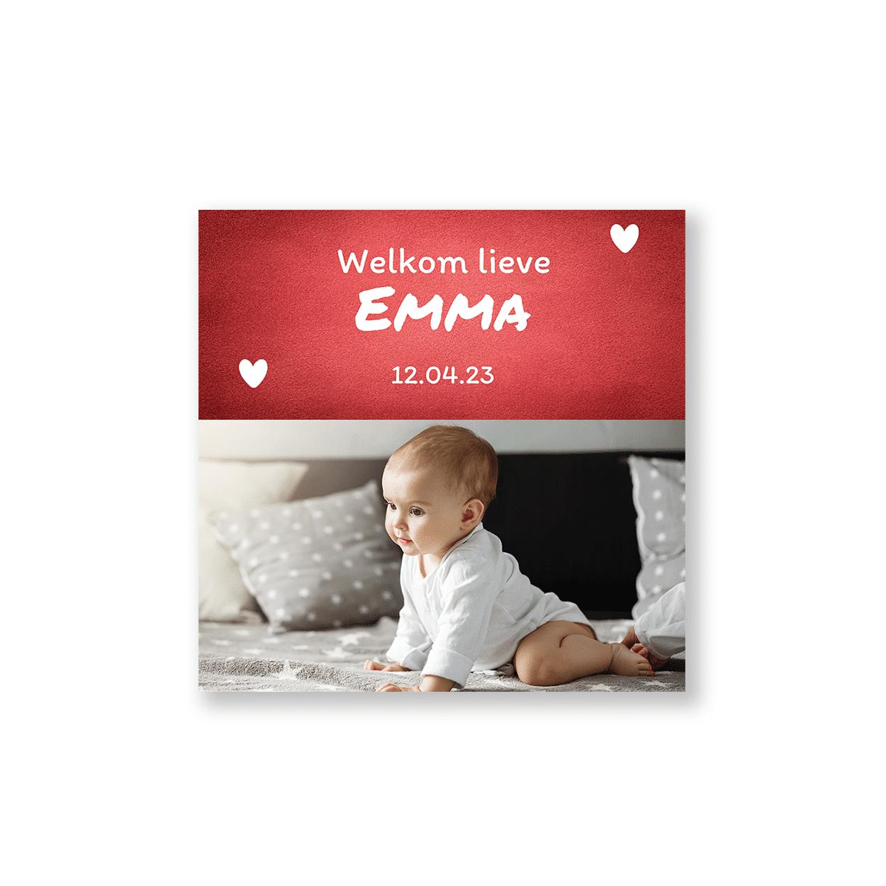 Rood geboortekaartje meisje met foto voorzijde