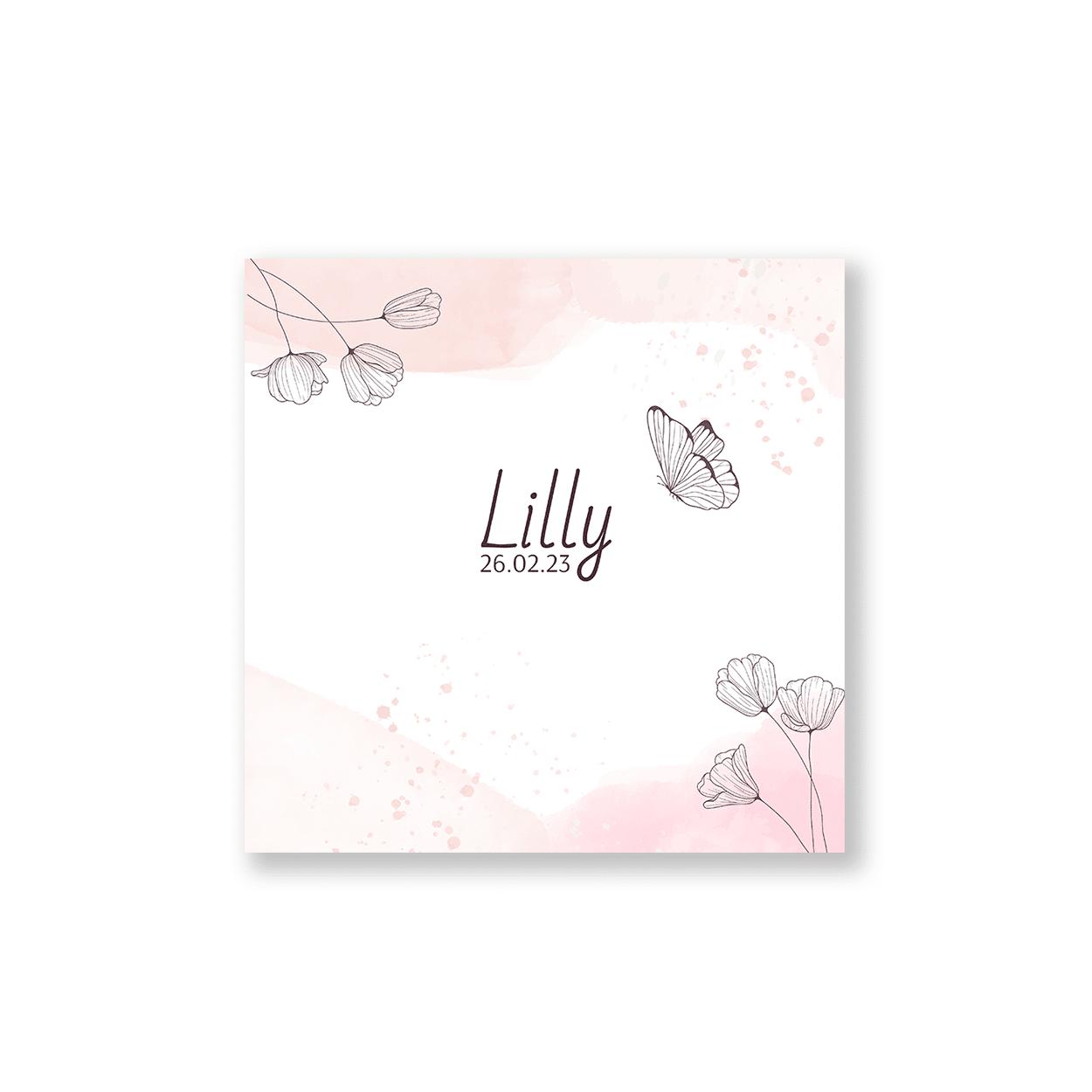 Vierkant geboortekaartje baby roze bloemen en vlinders voorzijde
