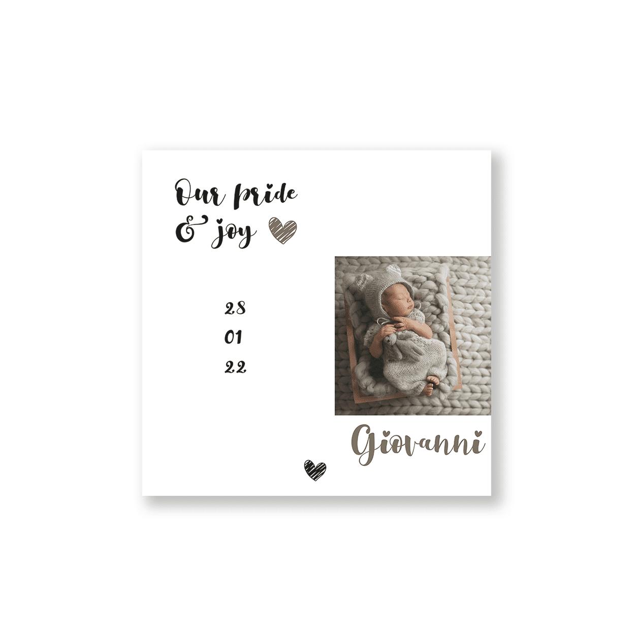Geboortekaartje jongen met hartjes voorzijde
