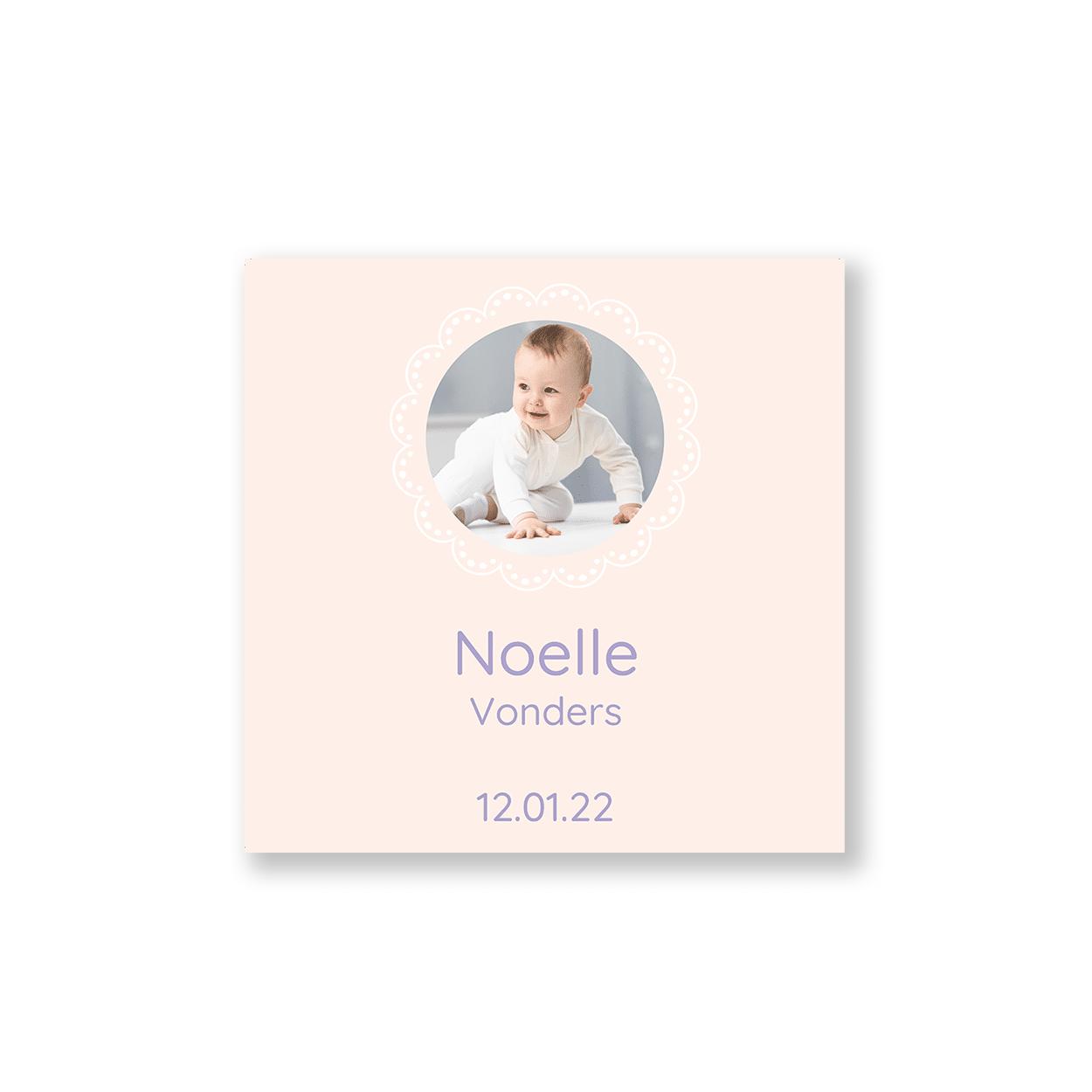 Geboortekaartje meisje ronde versiering voorzijde