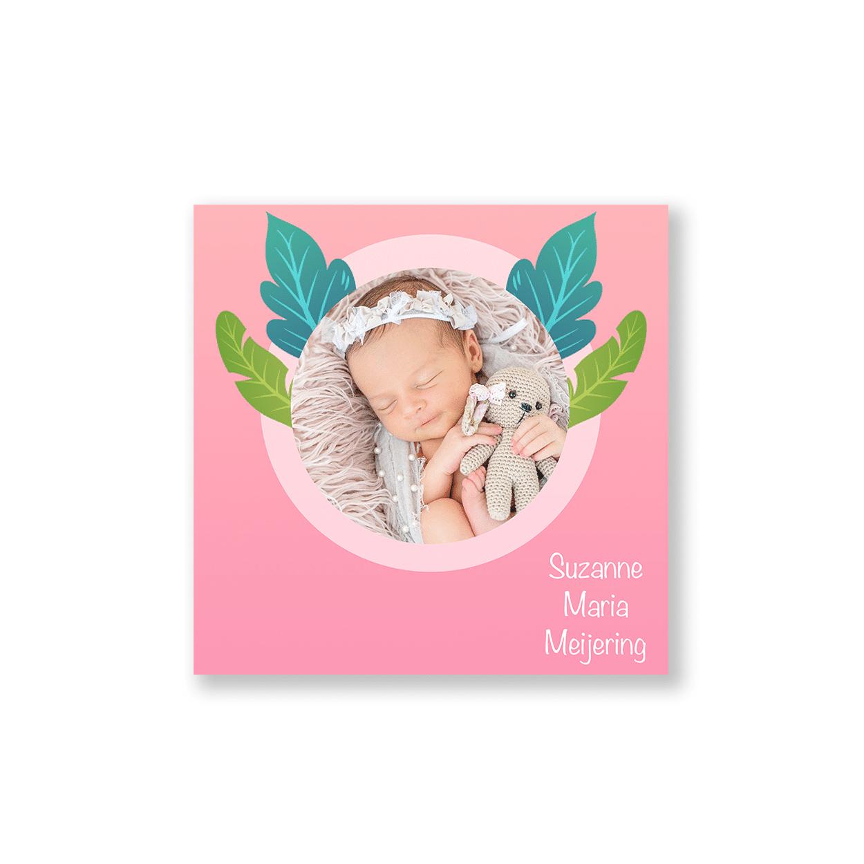Roze geboortekaartje meisje bladeren voorzijde