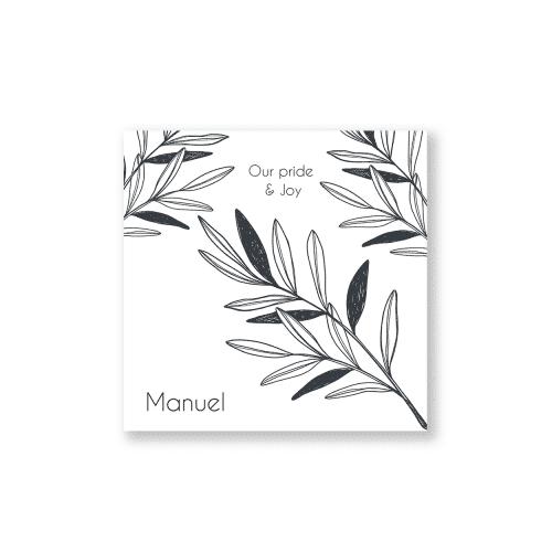 Klassiek zwart wit botanisch geboortekaartje voorzijde