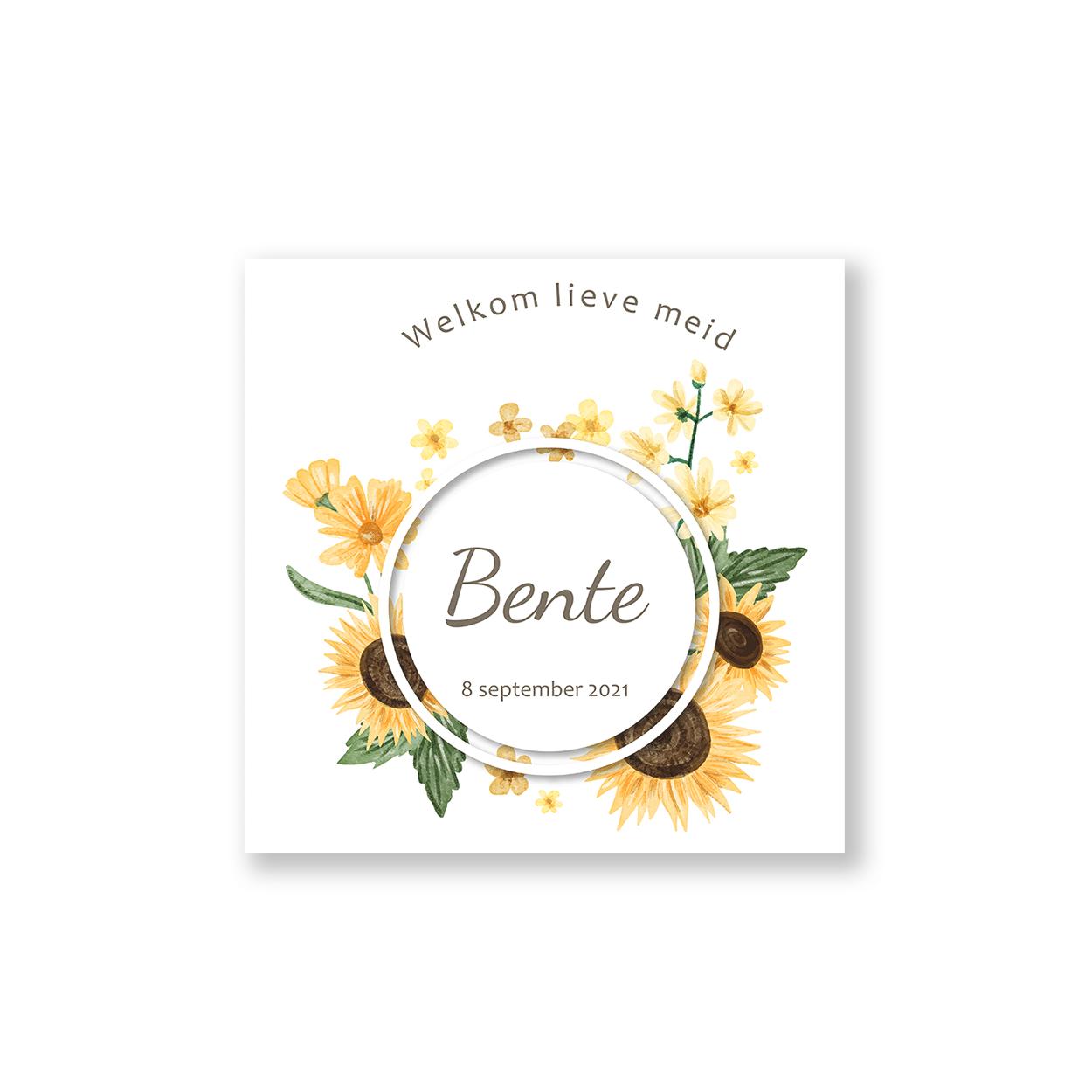 Geboortekaartje zonnebloemen voorzijde