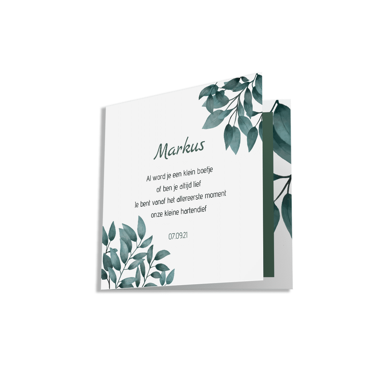 Klassiek geboortekaartje jongetje groene bladeren voorzijde