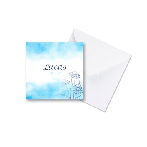 Rustig vierkant baby blauw geboortekaart jongen met envelop