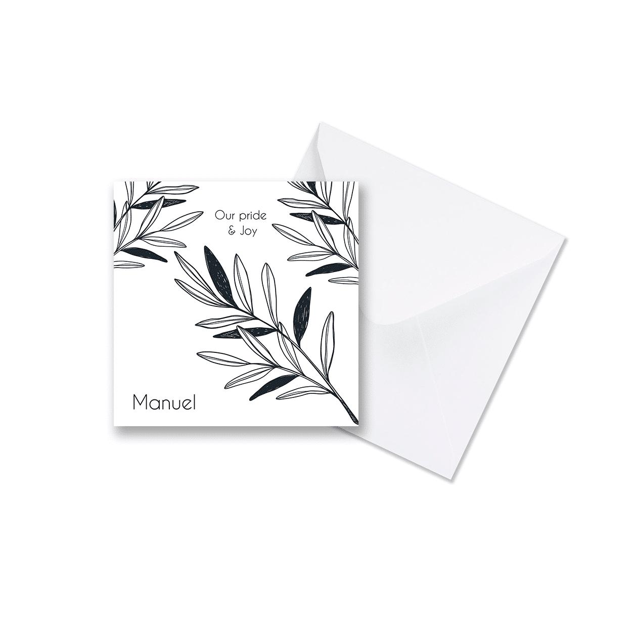 Klassiek zwart wit botanisch geboortekaartje met envelop