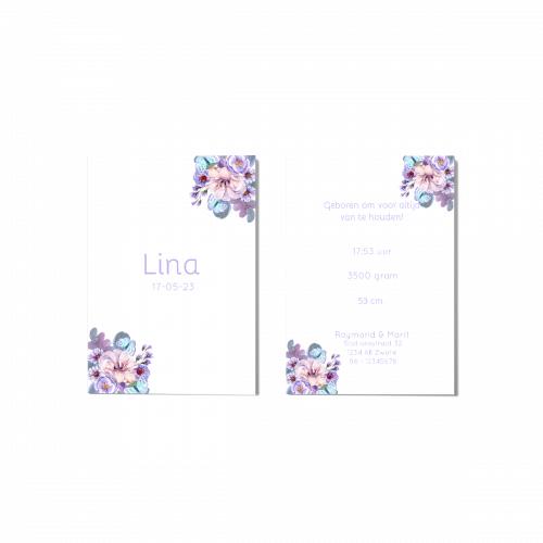 Geboortekaartje bloemen en vlinders voor en achter