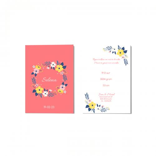Minimalistisch geboortekaartje bloemenkrans voor en achter