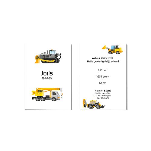 Geboortekaartje met bouwmachines voor en achter