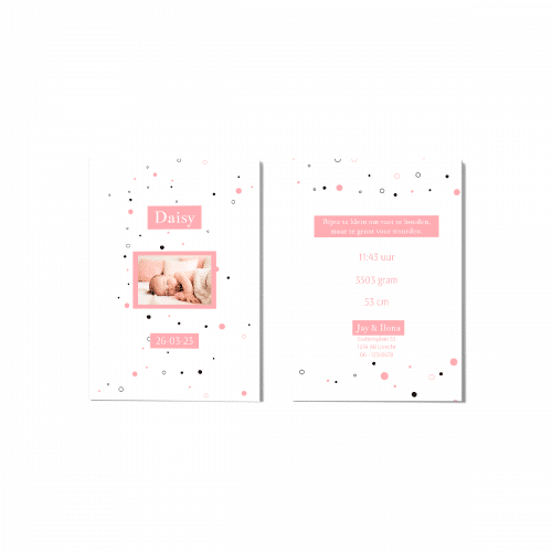 Hip geboortekaartje stippen en foto voor en achter