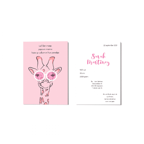 Geboortekaartje meisje giraffe met roze bril voor en achter