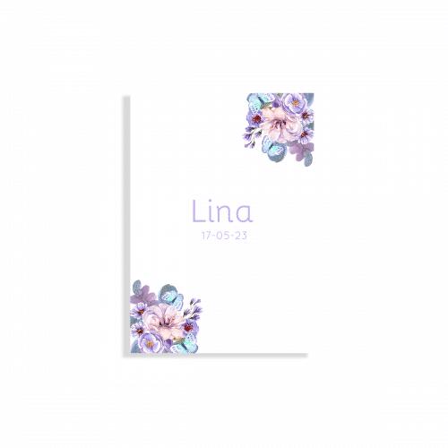 Geboortekaartje bloemen en vlinders voorzijde