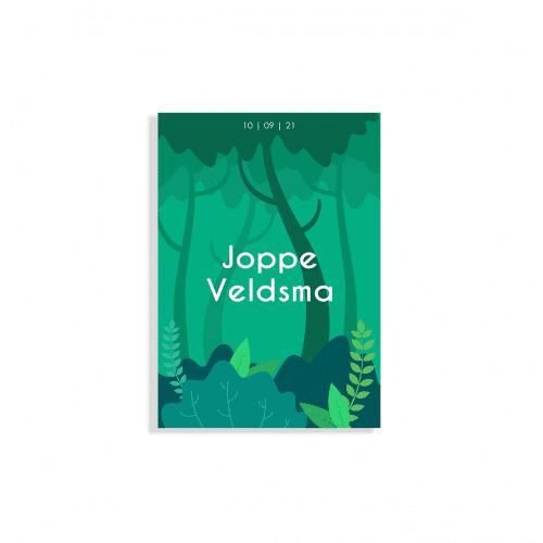 Stoer geboortekaartje bos thema voorzijde