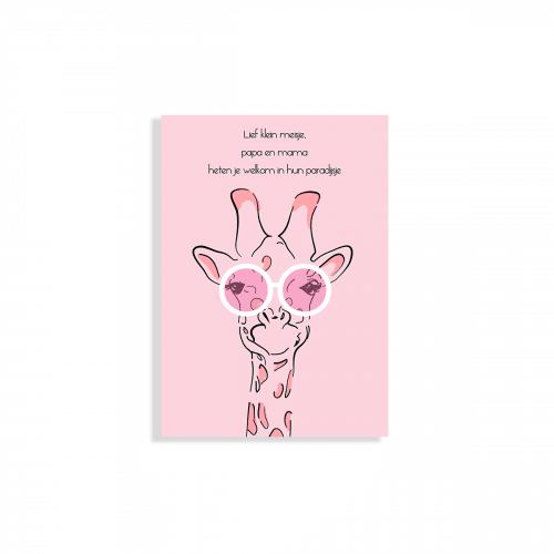 Geboortekaartje meisje giraffe met roze bril voorzijde
