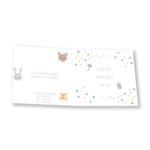 Minimalistisch geboortekaartje dieren en versieringen binnenkant