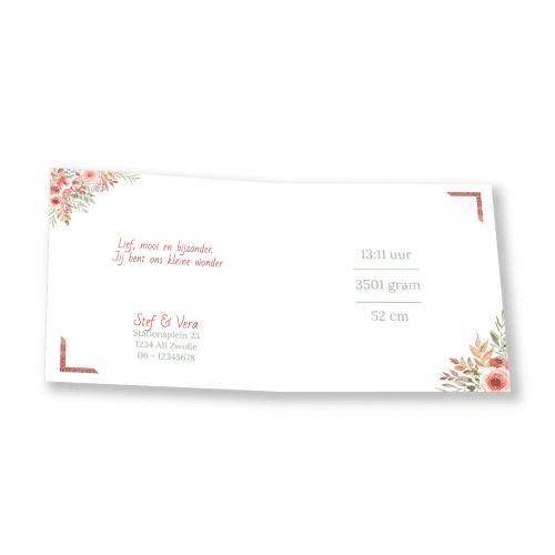 Hip geboortekaartje bloemen lijst binnenkant
