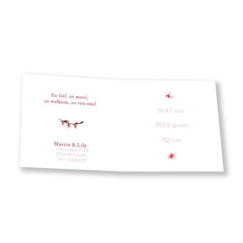 Geboortekaartje roze bloesemtak binnenkant