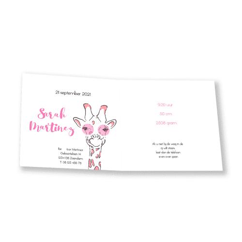Geboortekaartje meisje giraffe met roze bril kant