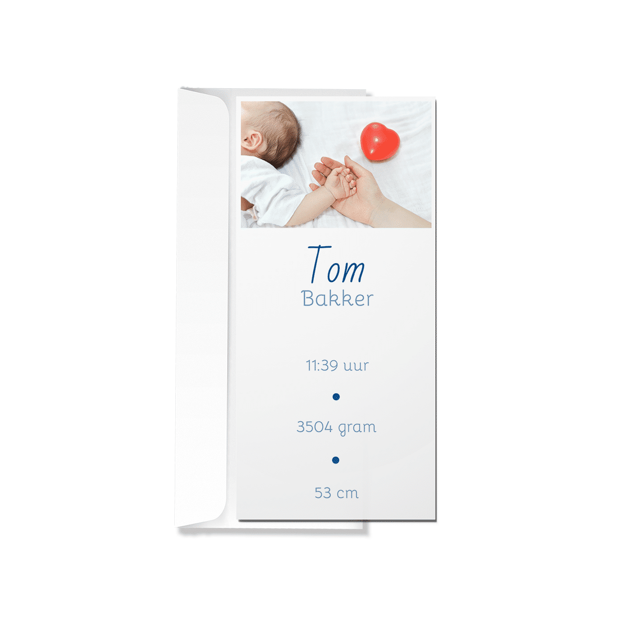 Minimalistisch geboortekaartje met foto met envelop