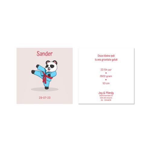 Stoer geboortekaartje jongen met karate panda voor en achter