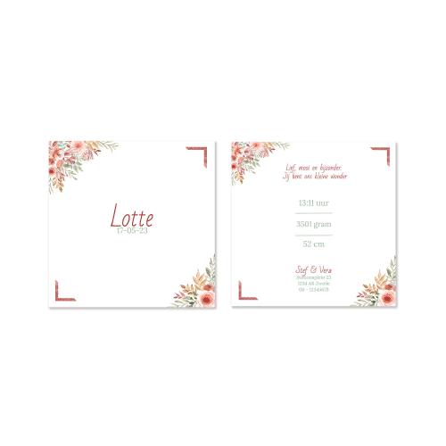 Hip geboortekaartje bloemen lijst voor en achter