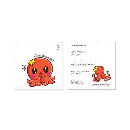 Hip geboortekaartje met octopusje voor en achter
