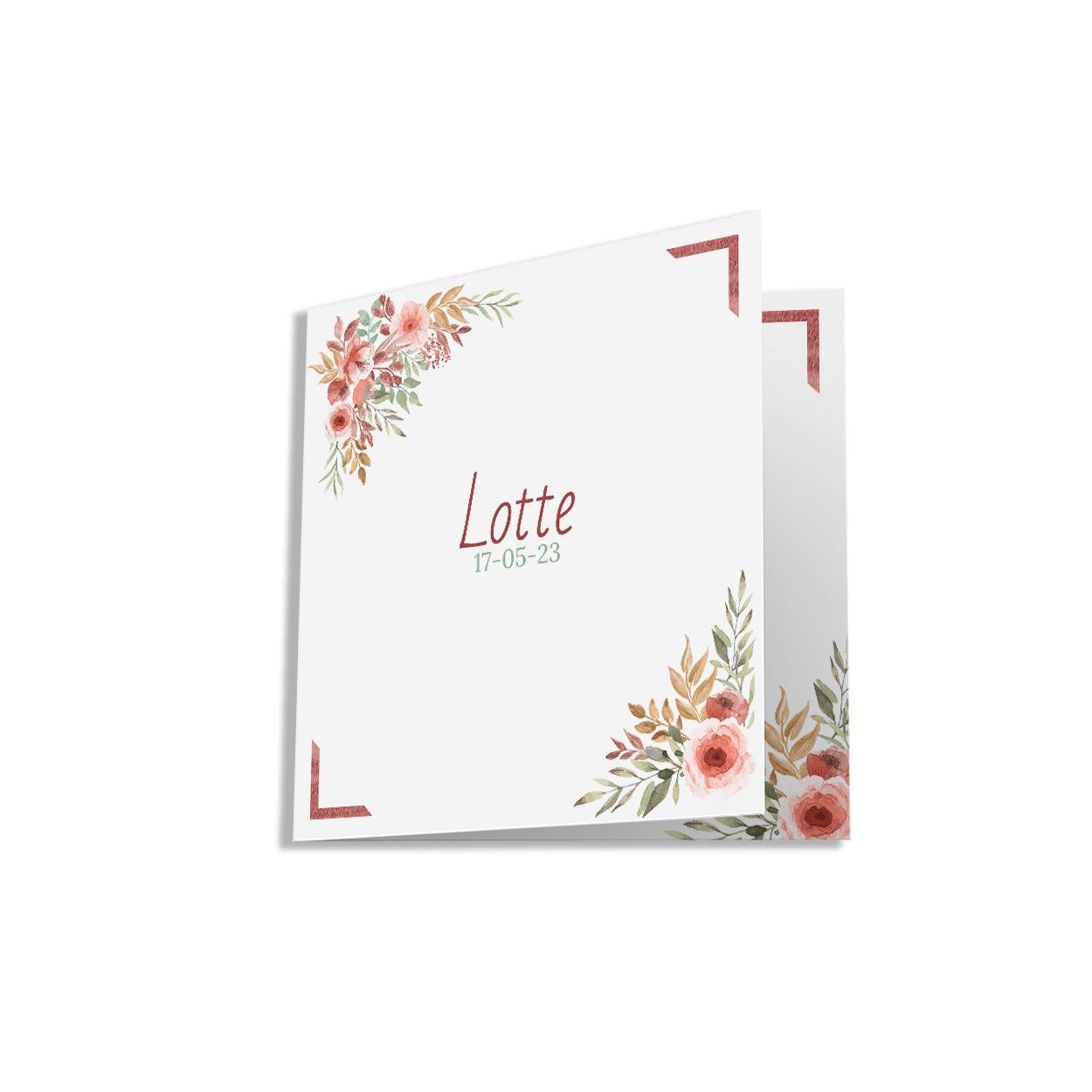 Hip geboortekaartje bloemen lijst voorzijde