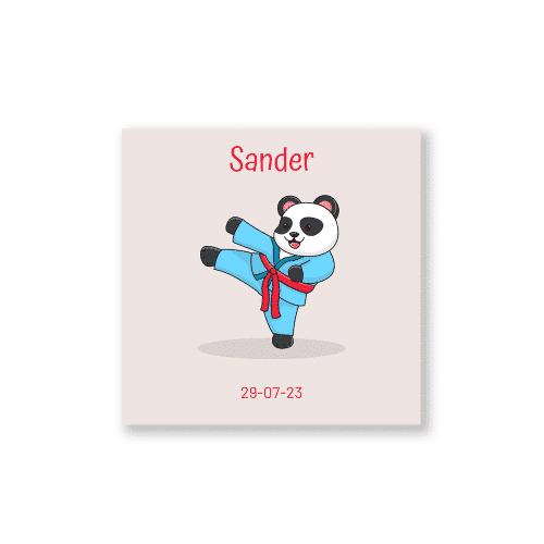 Stoer geboortekaartje jongen met karate panda voorzijde