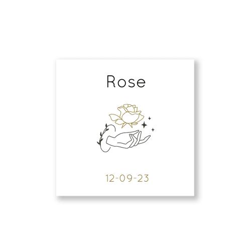 Minimalistisch geboortekaartje rozen voorzijde