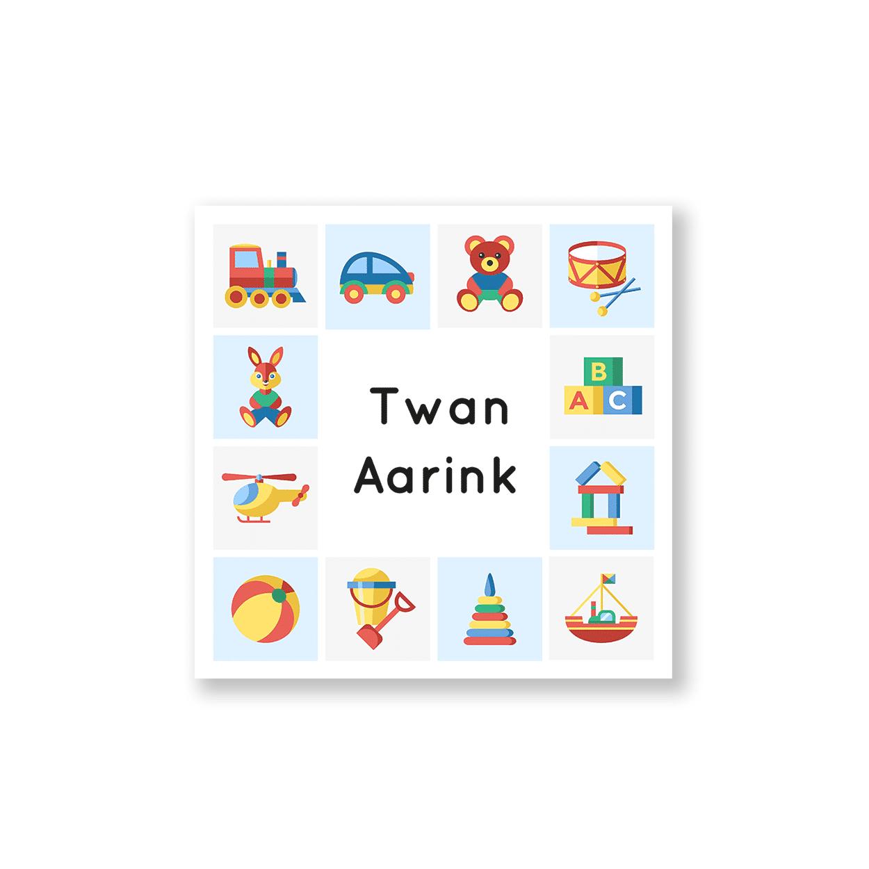 Geboortekaartje met leuk kinderspeelgoed voorzijde