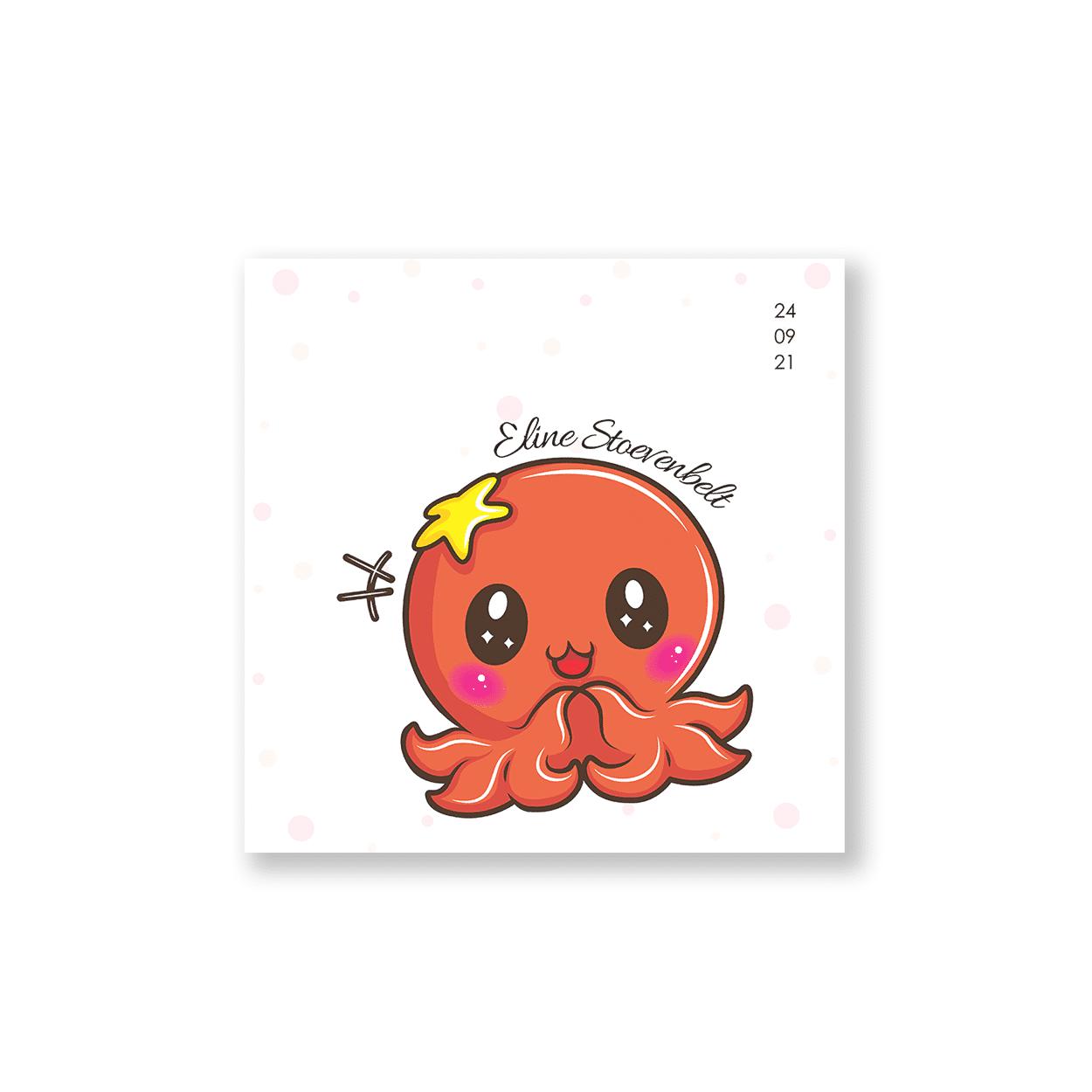 Hip geboortekaartje met octopusje voorzijde