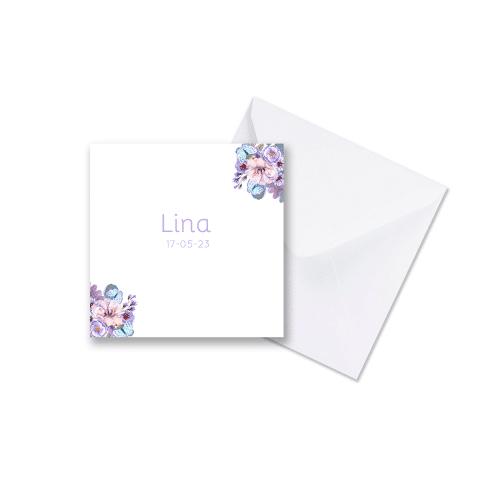 Geboortekaartje bloemen en vlinders met envelop