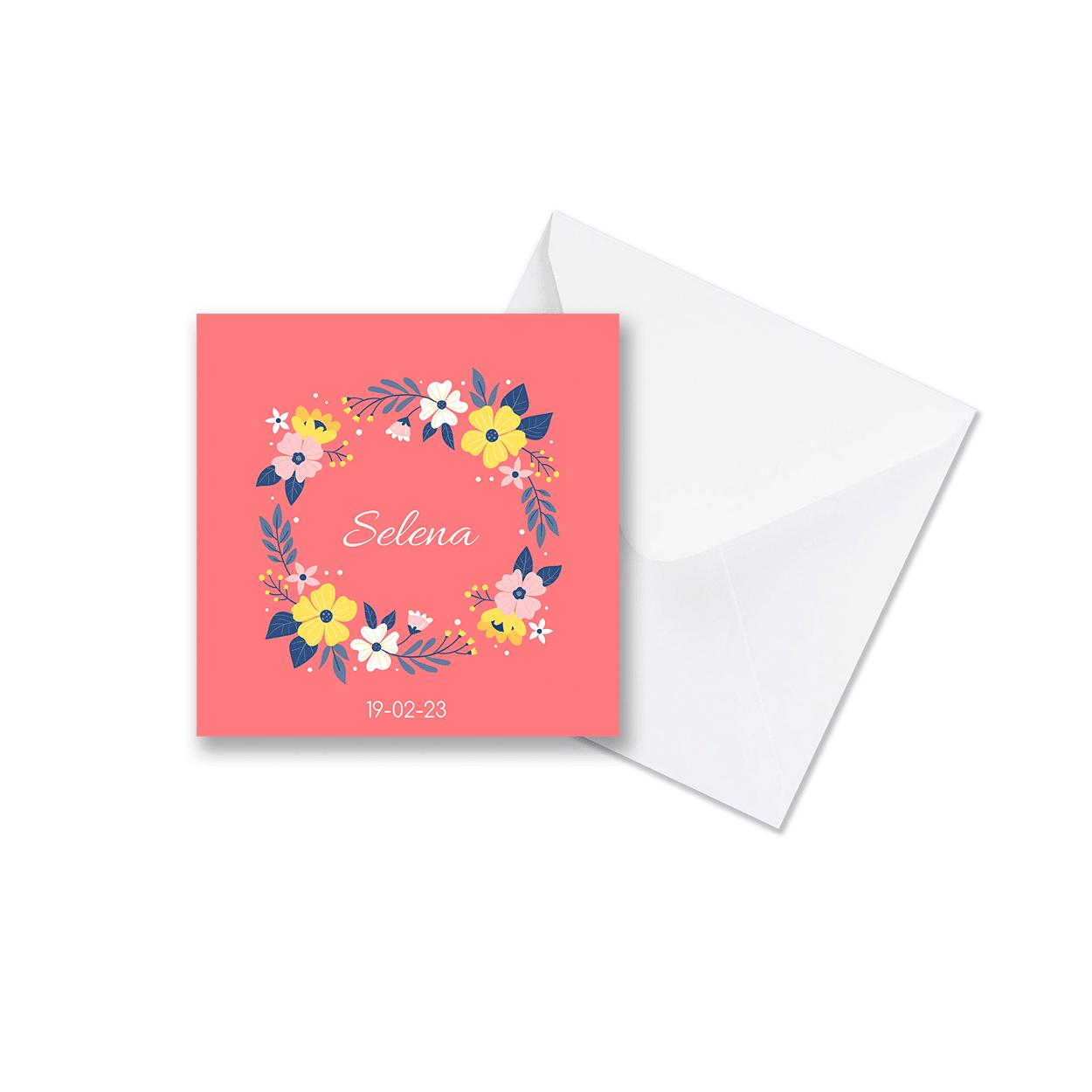 Minimalistisch geboortekaartje bloemenkrans met envelop