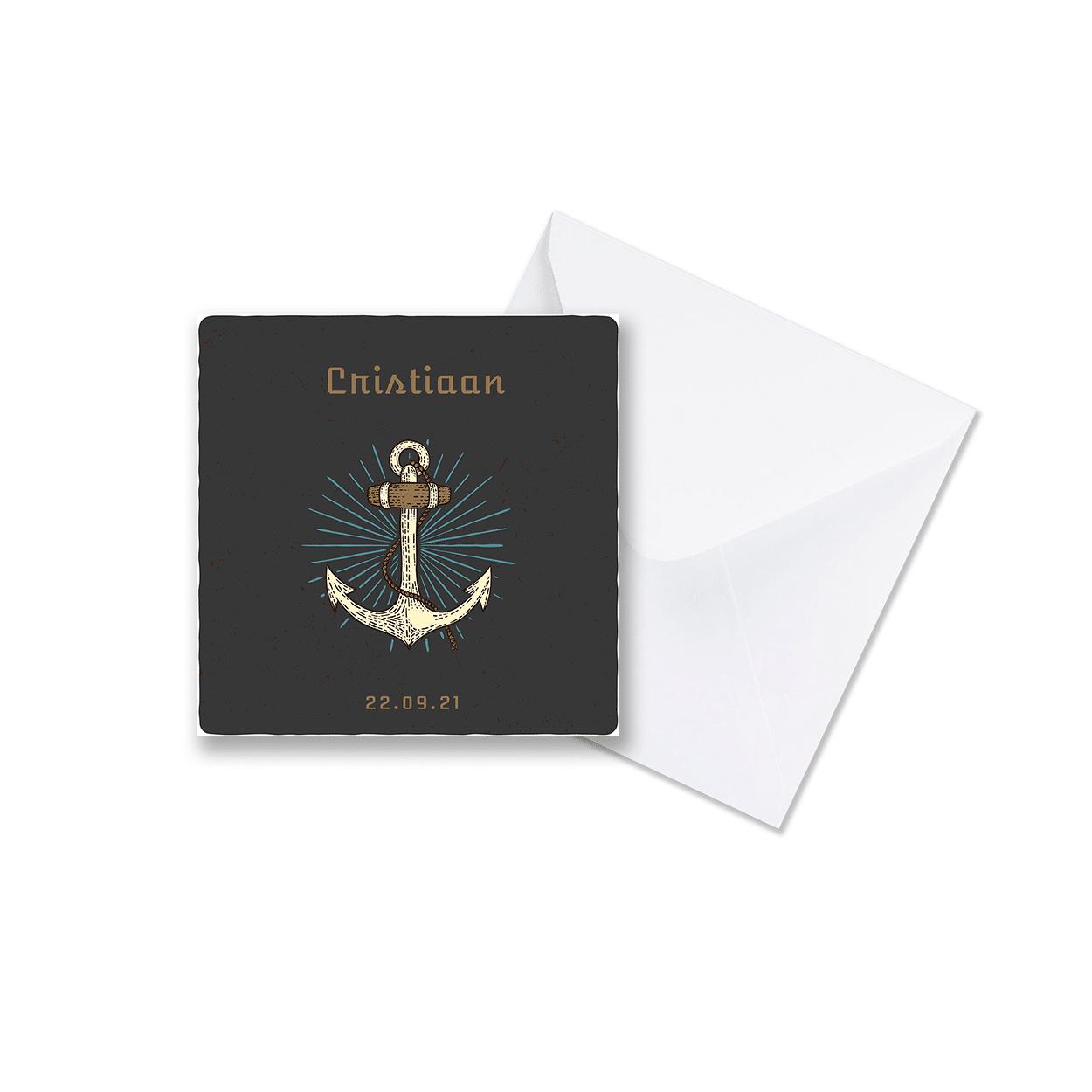 Stoer geboortekaartje met anker met envelop