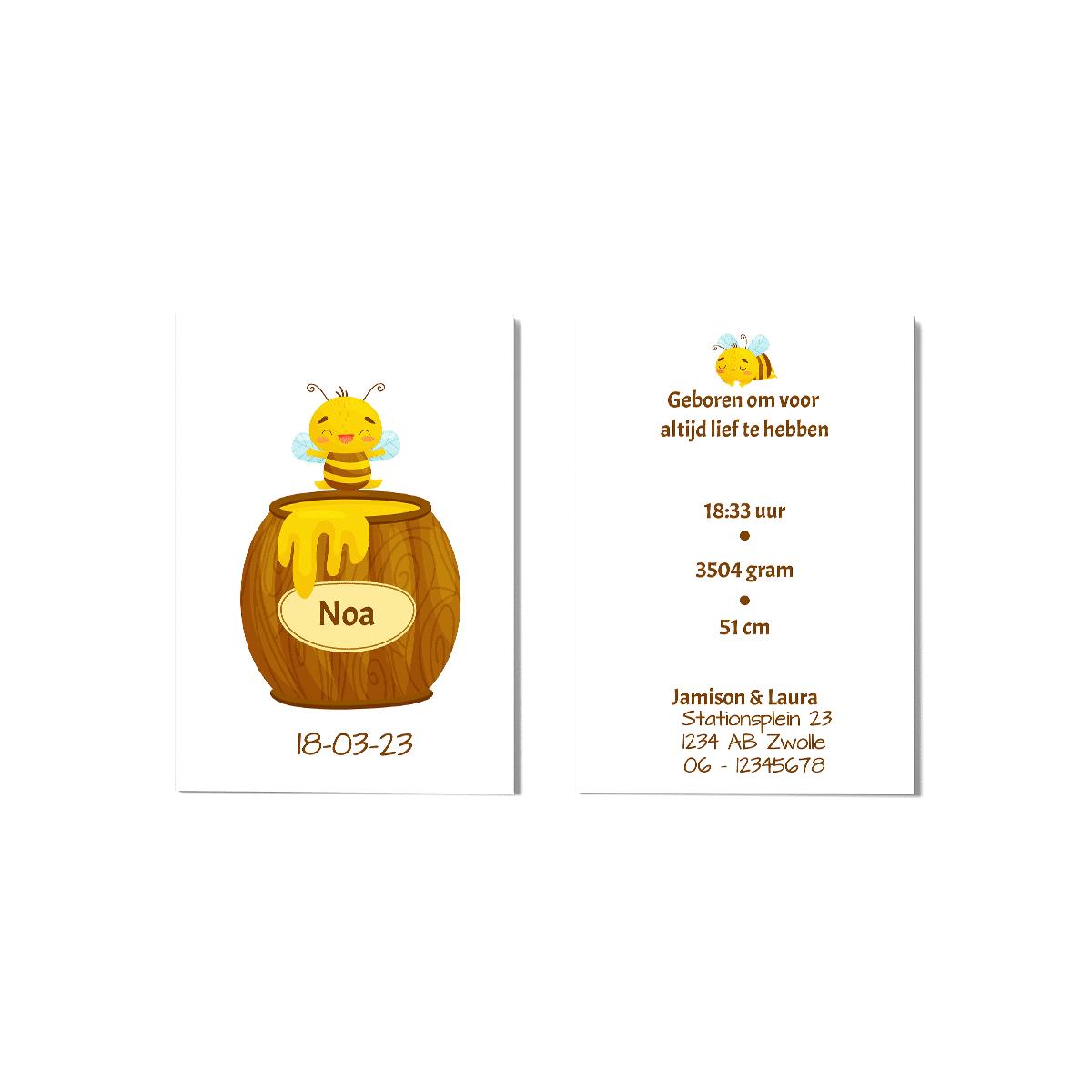 Geboortekaartje met bijtje en honingpot voor en achter
